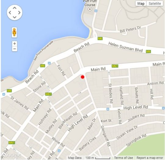 Map Molo Lolo House in Sea Point  Atlantic Seaboard  Cape Town  Western Cape  South Africa