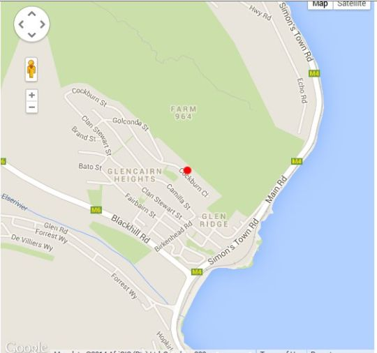Map Shell\'s Place in Glencairn  False Bay  Cape Town  Western Cape  South Africa