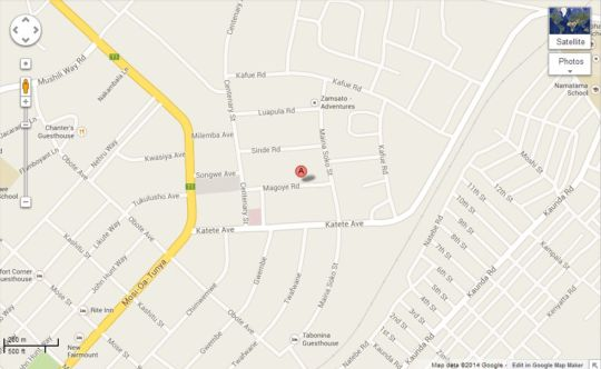 Map Zinga Backpackers in Livingstone CBD  Livingstone  Zambia