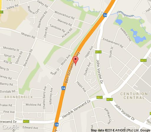 Map BellaCanella Guesthouse in Centurion Central  Centurion  Pretoria / Tshwane  Gauteng  South Africa