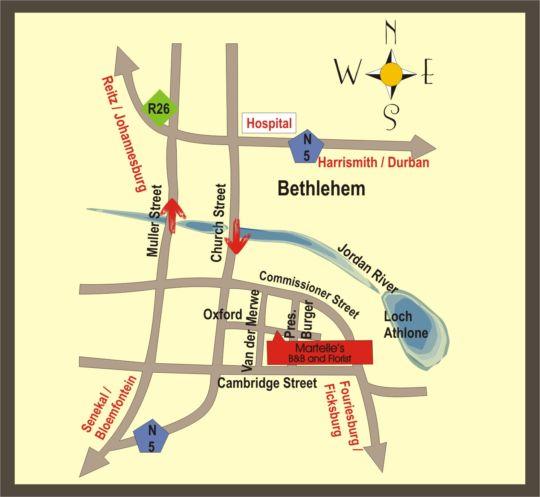 Map Martelle\'s  in Bethlehem  Thabo Mofutsanyana  Free State  South Africa