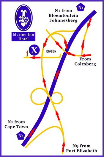 Map Merino Inn in Colesberg  Upper Karoo  Northern Cape  South Africa