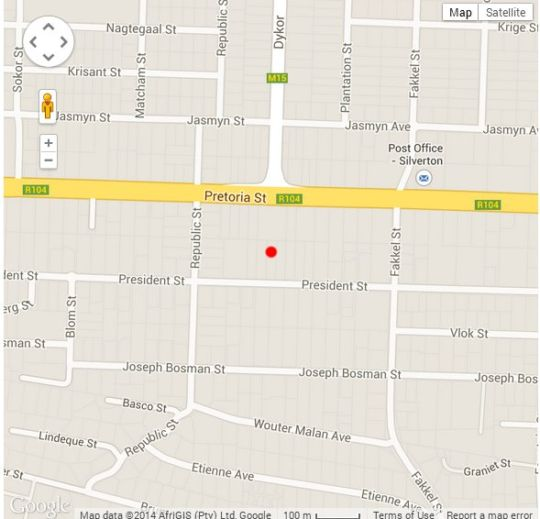 Map Silverton Travel Lodge in Silverton  Pretoria East  Pretoria / Tshwane  Gauteng  South Africa