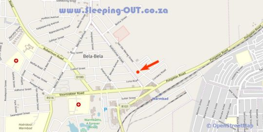 Map Golden Lantern Guest Lodge in Bela Bela  Bushveld  Limpopo  Suid-Afrika