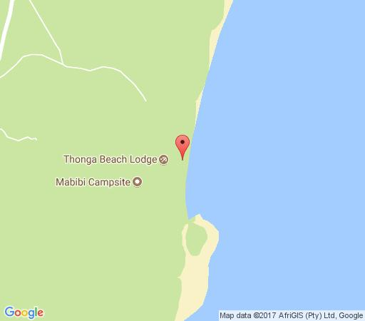 Map Thonga Beach Lodge in Mabibi  Zululand  KwaZulu Natal  South Africa