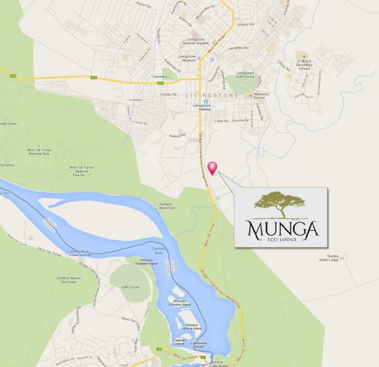 Map Munga Eco-Lodge in Victoria Falls  Livingstone  Zambia