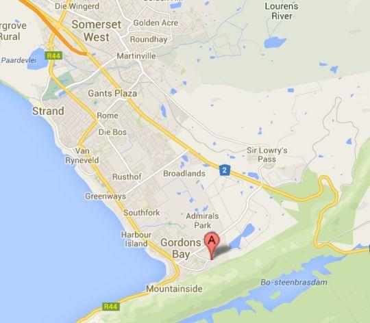 Map Helderberg Guesthouse in Gordon's Bay  Helderberg  Western Cape  South Africa