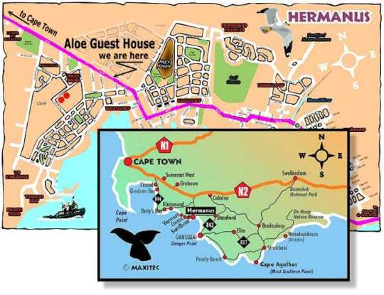 Map Aloe House Guest Lodge in Hermanus  Overberg  Western Cape  South Africa