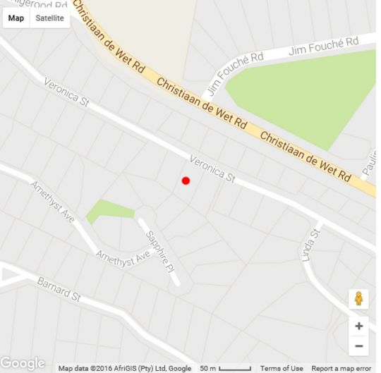 Map The African Research House  in Kloof en Dal  Roodepoort  West Rand  Gauteng  South Africa
