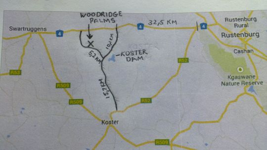 Map Woodridge Palms Boutique Hotel in Koster  Central (NW)  North West  South Africa