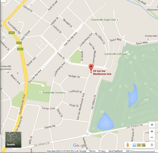 Map Villa Pascal in Durbanville  Northern Suburbs (CPT)  Cape Town  Western Cape  South Africa