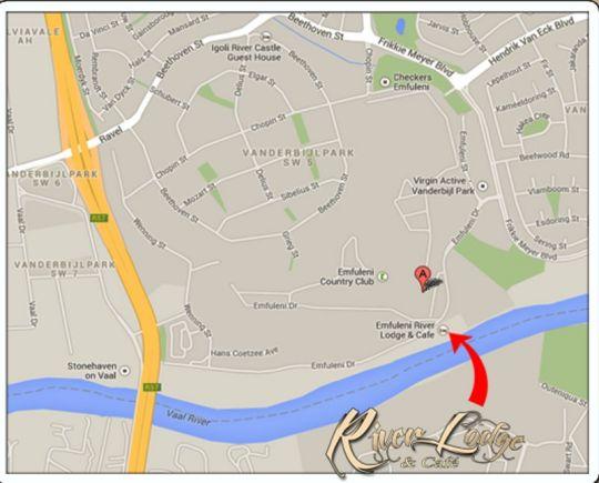 Map Emfuleni River Lodge in Vanderbijlpark  Sedibeng District  Gauteng  South Africa
