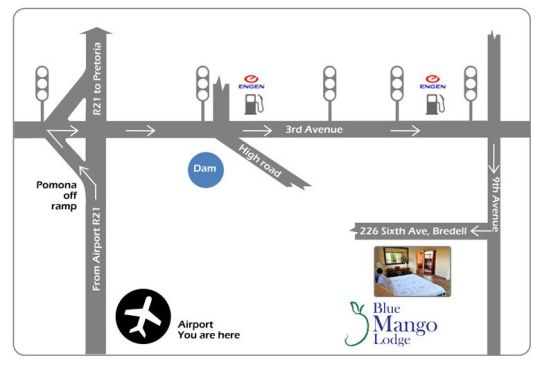 Map Blue Mango Lodge in Kempton Park  Ekurhuleni (East Rand)  Gauteng  South Africa