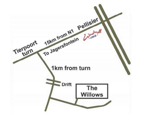 Map The Willows Guesthouse in Bloemfontein  Mangaung  Free State  South Africa