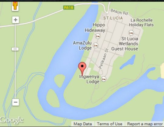 Map St. Lucia Kingfisher Lodge in St Lucia  Zululand  KwaZulu Natal  South Africa