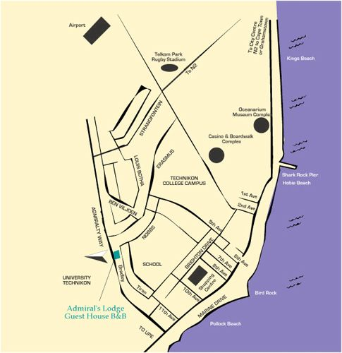 Map Admirals Lodge Guest House in Summerstrand  Port Elizabeth  Cacadu (Sarah Baartman)  Eastern Cape  South Africa