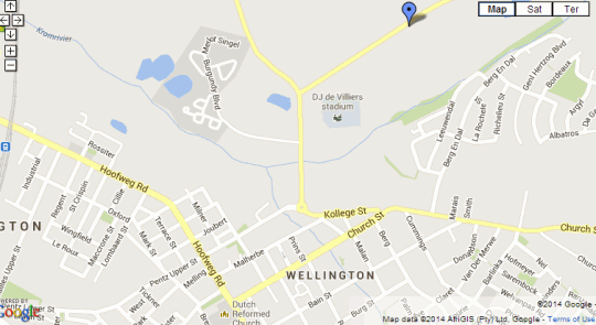 Map Au d'Hex Manor House in Wellington  Cape Winelands  Western Cape  South Africa
