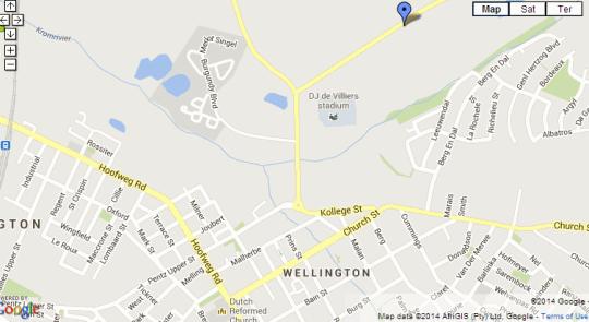 Map Au d'Hex Manor House in Wellington  Cape Winelands  Western Cape  South Africa
