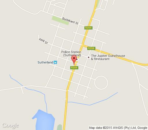 Map Kambro Kind B & B and Middelfontein Farm in Sutherland  Hantam Karoo  Northern Cape  South Africa