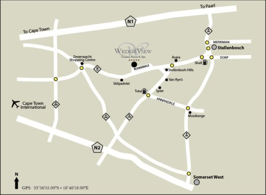 Map WedgeView Country House & Spa in Stellenbosch  Cape Winelands  Western Cape  South Africa
