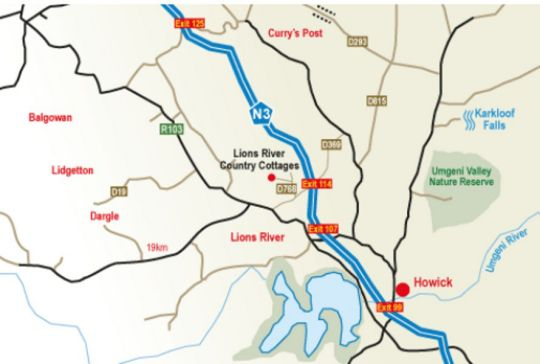 Map Lions River Country Cottages in Lions River  Midlands  KwaZulu Natal  South Africa