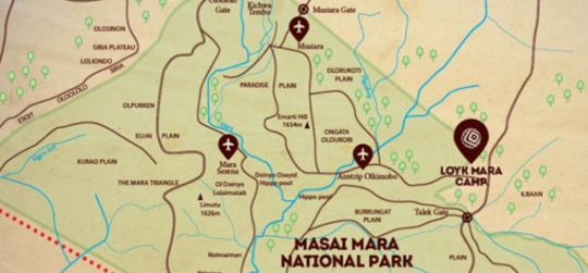 Map Loyk Mara in Maasai Mara National Reserve  Kenya