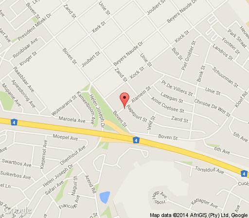 Map Franka Guesthouse in Rustenburg  Bojanala  North West  South Africa