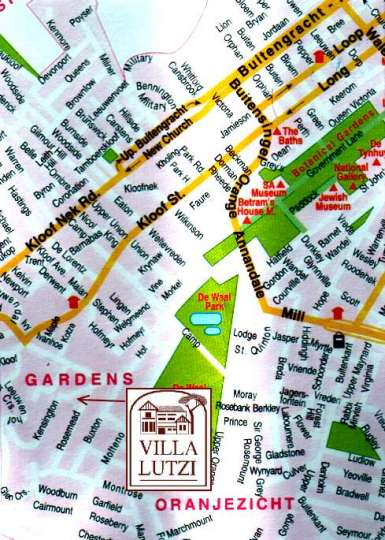 Map Villa Lutzi in Oranjezicht  City Bowl  Cape Town  Western Cape  South Africa