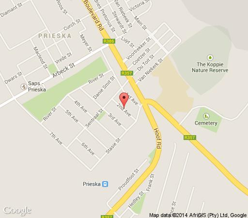 Map Shalom Shalom in Prieska  Diamond Fields  Northern Cape  South Africa