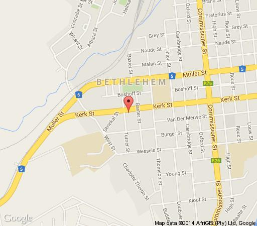 Map Times Square Guest House in Bethlehem  Thabo Mofutsanyana  Free State  South Africa