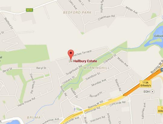 Map Hallbury Estate in Bedfordview  Ekurhuleni (East Rand)  Gauteng  South Africa