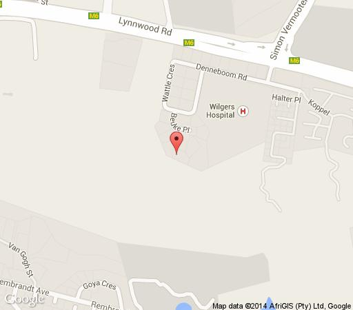 Map Wilgers Guesthouse in Die Wilgers  Pretoria East  Pretoria / Tshwane  Gauteng  South Africa