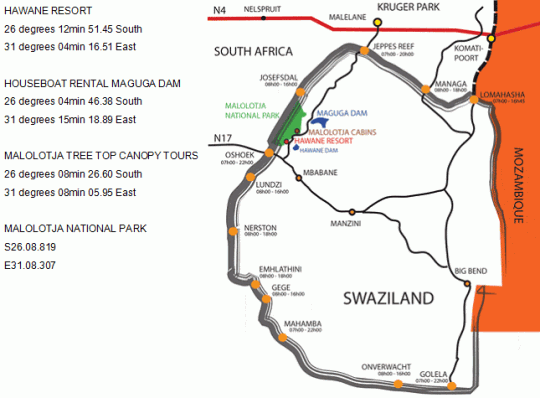 Map Hawane Resort in Piggs Peak  Hhohho  Swaziland