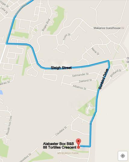 Map Alabaster Box B&B in Langebaan  West Coast (WC)  Western Cape  South Africa