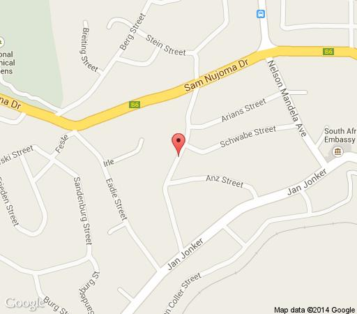 Map De Vagebond Bed & Breakfast in Windhoek  Khomas  Namibia