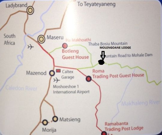 Map Molengoane Lodge  in Roma  Maseru (District)  Lesotho