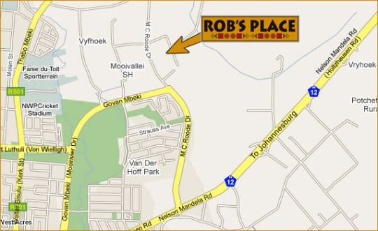 Map RobsPlace in Potchefstroom  Southern (NW)  North West  South Africa