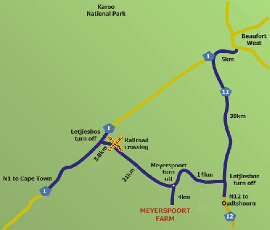 Map Meyerspoort Farm in Beaufort West  Karoo  Western Cape  South Africa
