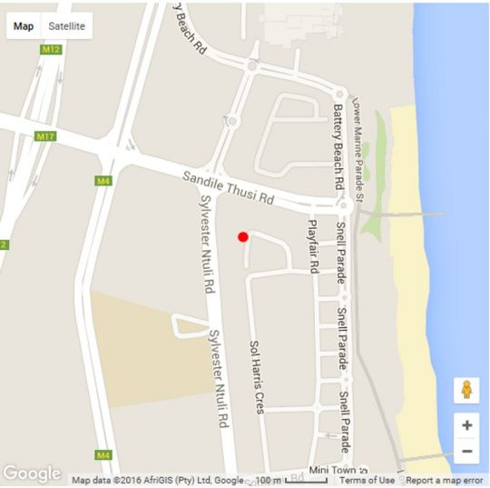 Map North Beach Durban Holiday Apartment in North Beach  Durban  Durban and Surrounds  KwaZulu Natal  South Africa