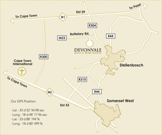 Map Devonvale Golf & Wine Estate in Stellenbosch  Cape Winelands  Western Cape  South Africa