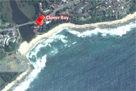 Map Clover Bay in St Michaels-on-Sea  South Coast (KZN)  KwaZulu Natal  South Africa