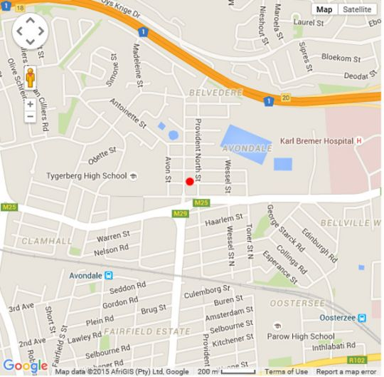 Map Auriol\'s Bed & Breakfast in Parow  Northern Suburbs (CPT)  Cape Town  Western Cape  South Africa