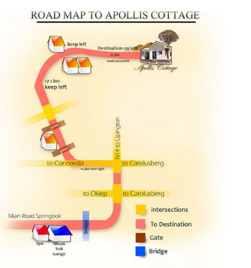 Map Apollis Cottage in Springbok  Namakwaland  Northern Cape  South Africa