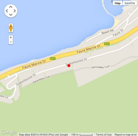Map Bayview in Gordon's Bay  Helderberg  Western Cape  South Africa