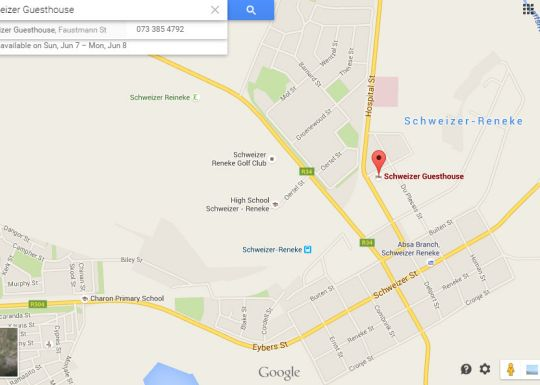 Map Schweizer Guesthouse in Schweizer-Reneke  Bophirima  North West  South Africa