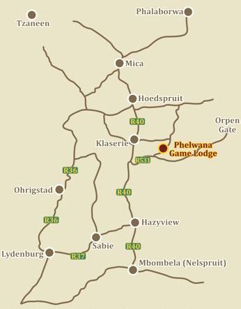 Map Phelwana Game Lodge in Hoedspruit  Valley of the Olifants  Limpopo  South Africa