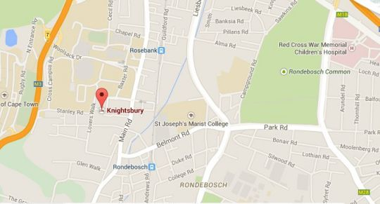 Map Knightsbury Guest House in Rondebosch  Southern Suburbs (CPT)  Cape Town  Western Cape  South Africa
