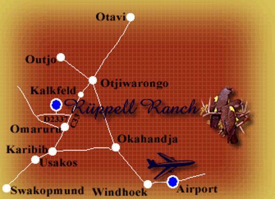 Map Farm Rüppell in Omaruru  Erongo  Namibia