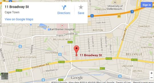 Map  Broadway Guest House in Bellville  Northern Suburbs (CPT)  Cape Town  Western Cape  South Africa