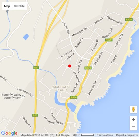 Map 687 on Dunkirk B&B in Ramsgate  South Coast (KZN)  KwaZulu Natal  South Africa